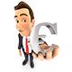 3D Businessman Euro Sign
