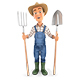 3D Farmer with Shovel and Fork