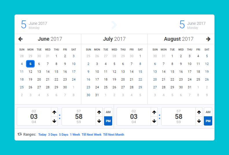 Calentim - Date Time Range Picker - 3