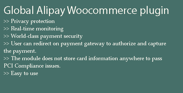 Global Alipay WordPress plugin (WooCommerce) images