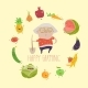 Granny Farmer with Funny Vegetables