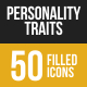 Personality Traits Filled Low Poly B/G Icons