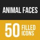 Animal Faces Filled Low Poly B/G Icons
