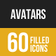 Avatars Filled Low Poly B/G Icons