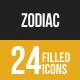 Zodiac Filled Low Poly B/G Icons