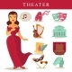 Theater or Opera Vector Flat Icons Singer, Ballet