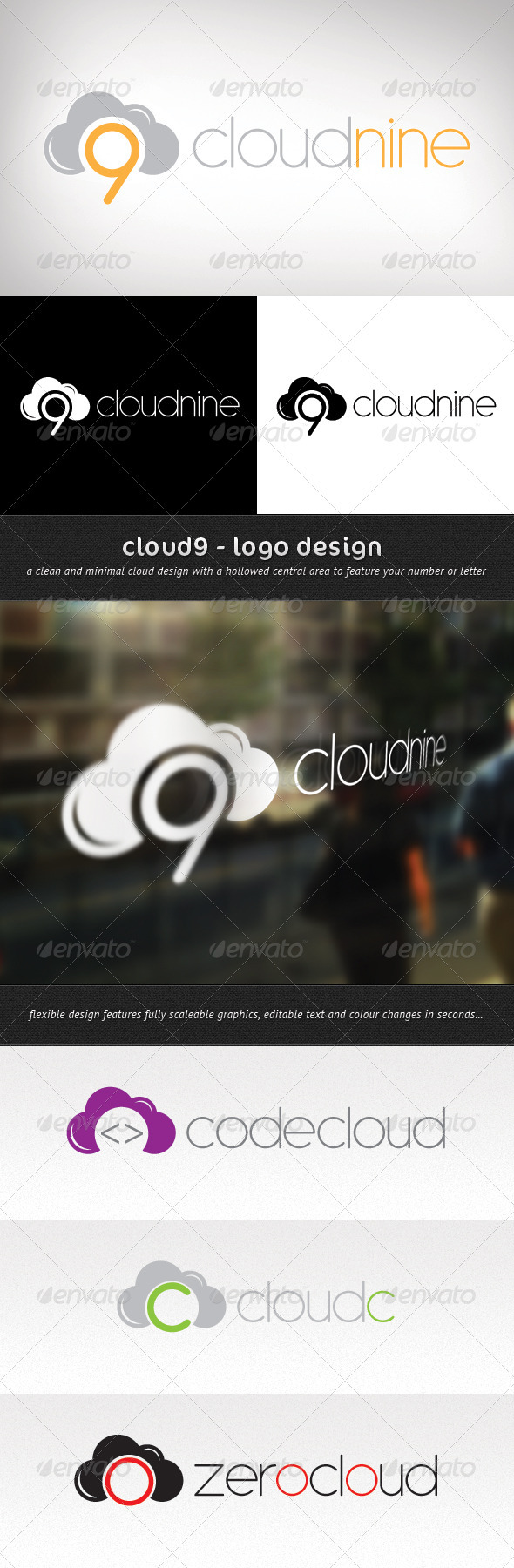 Cloud9 - Logo Design - Numbers Logo Templates