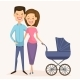 Happy Young Family Couple with Baby Carriage