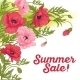 Summer Sale Card with Red and Pink Poppy
