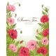 Summer Time Card with Red and Pink Poppy on Green