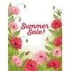 Summer Sale Card with Red and Pink Poppy on Green