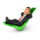 3D Businessman Relaxed on a Check Mark