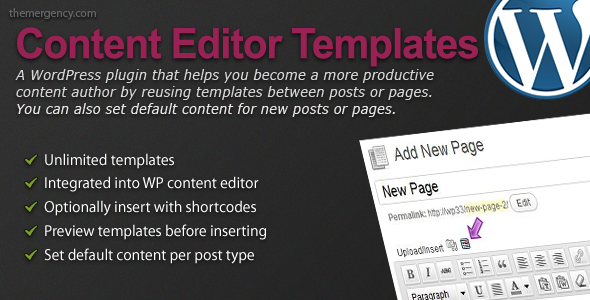 Content Editor Templates for WordPress