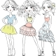 Vector Fashion Girls in T-shirts and Skirts