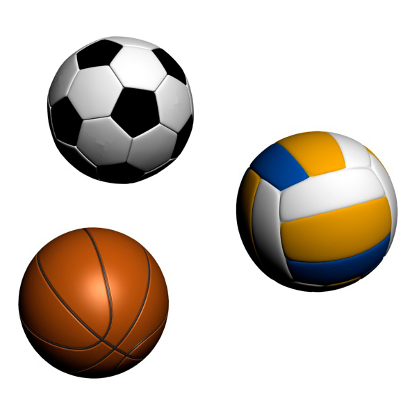 3DOcean Three Sport Balls Football Volleyball and Basketball 20103688
