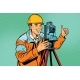 Builder Surveyor with a Theodolite Optical