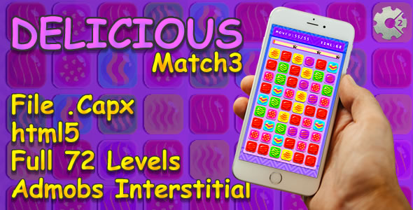 Download Delicious Match3 - FULL 72 Levels + AdmobsAds