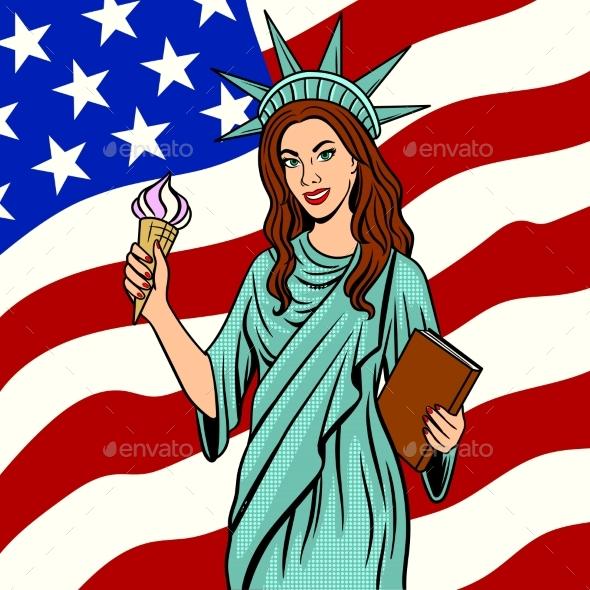 Girl in Statue of Liberty Suit Pop Art Vector