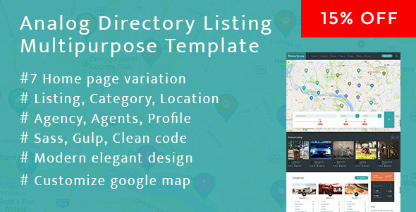 Analog Directory Listing Multipurpose Bootstrap Responsive Template + RTL