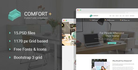 Comfort+ – Furnishings/Interior Style PSD Template (Organization)