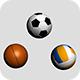 Three Sport Balls: Football, Volleyball and Basketball