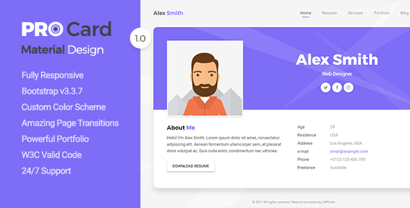 PRO Card – Material CV / Resume & vCard Template (Virtual Business Card) images