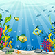 Illustration of Underwater Landscape with Fishes