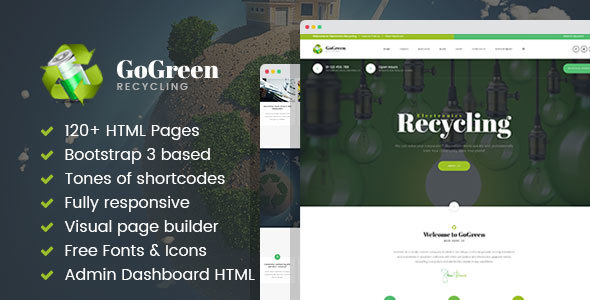 GoGreen – Waste Management and Recycling HTML Template with Builder (Business) images