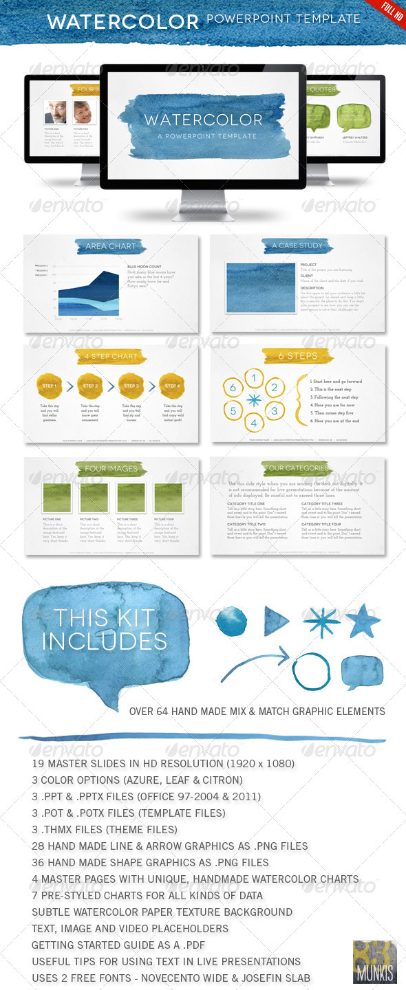 Watercolor Powerpoint Template - Powerpoint Templates Presentation Templates