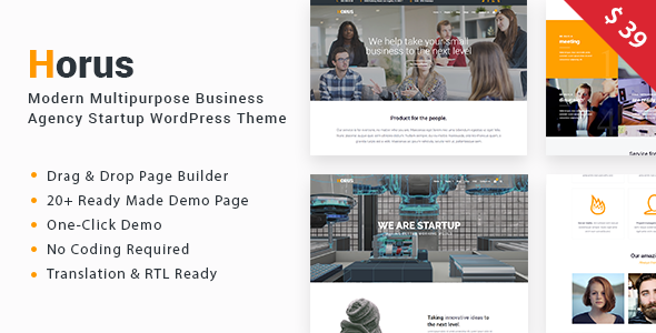 Horus - Multipurpose Business Agency Startup WordPress Theme
