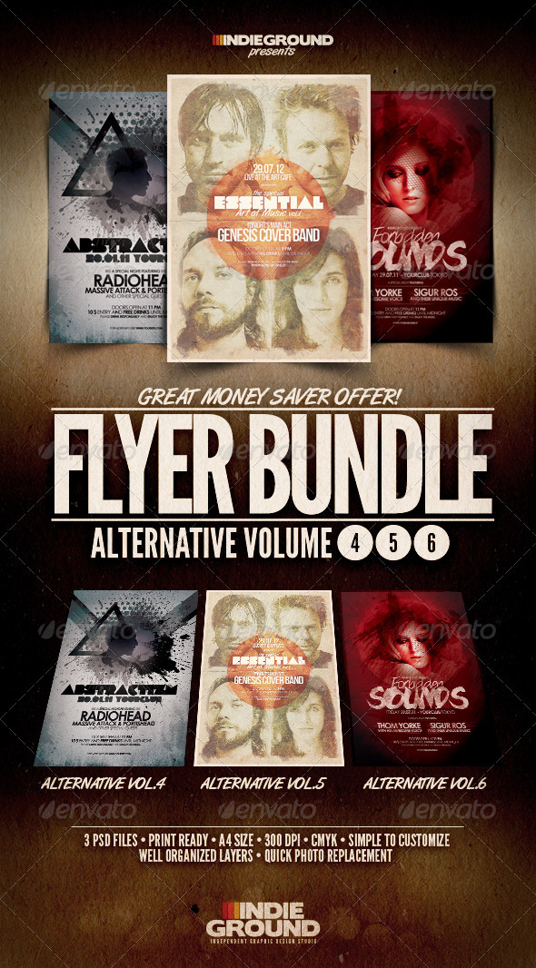 Alternative Flyer/Poster Bundle Vol. 4-6 - Clubs & Parties Events