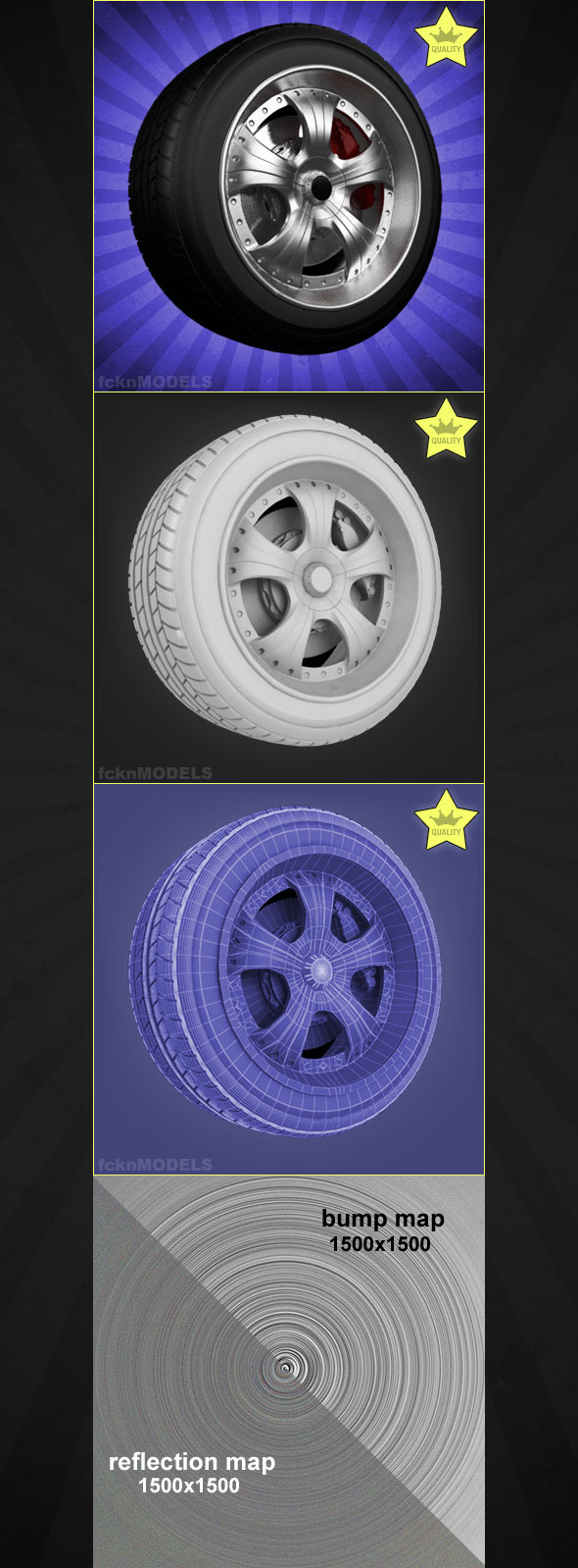 High detailed 3D model of car wheel 03 - 3DOcean Item for Sale