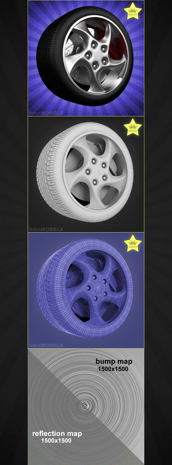 High detailed 3D model of car wheel 46 - 3DOcean Item for Sale