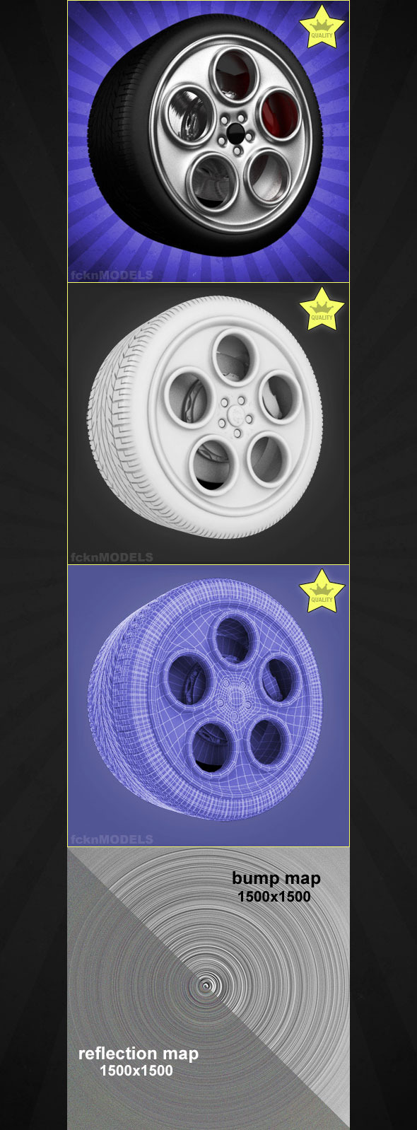High detailed 3D model of car wheel 77 - 3DOcean Item for Sale