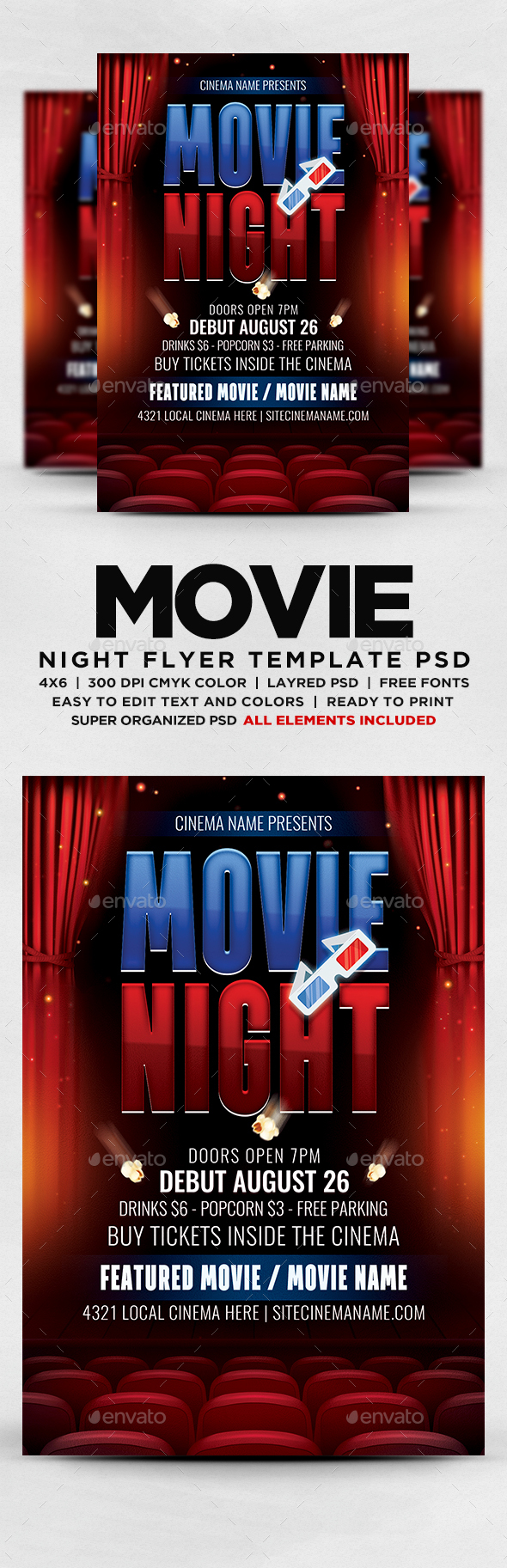 50S Graphics Designs Templates from GraphicRiver – Movie Night Flyer Template