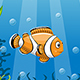 Illustration of Underwater Landscape with Clownfish