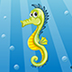 Illustration of Underwater Landscape with Seahorse
