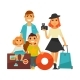 Family People Travel Vector Flat Icons Woman, Man