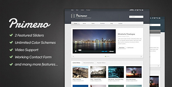 ThemeForest Primero Video Site Template 1968884