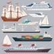 Sea Transportation. Vector Illustrations of Ships