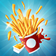 Flying Fries with Mustard and Ketchup on Blue Background