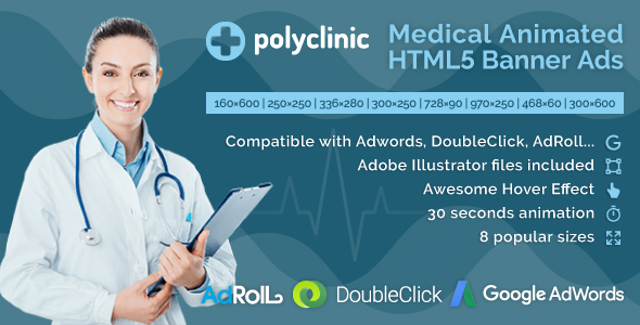 Download Polyclinic - Medical Services Animated HTML5 Banner Ads (GWD)
