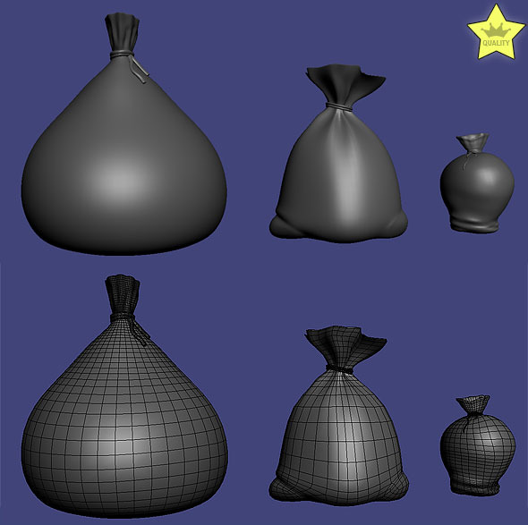 3DOcean 3D models of 3 sacks 1969009