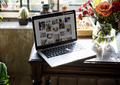 Laptop on the table about flower shop e-business