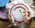 Embroidery hoop handicraft on the table