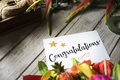 Congratulation card with flower bouquet