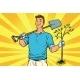 Man Gardener with a Shovel and Sapling