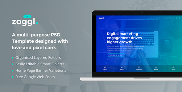 Zoggl - Marketing Website PSD Template