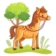 Cartoon Horse Standing in a Meadow.