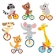 Little Animal Characters Riding Unicycle